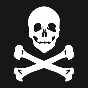 Smiling pirate emblem t-shirt to print in white on black. Skull and crossbones.