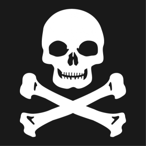 Square skull t-shirt to be printed in white on black t-shirt.