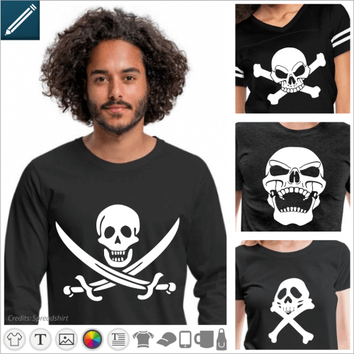 Custom pirate t-shirt and pirate flags, skulls, sparrow jack, jolly roger.