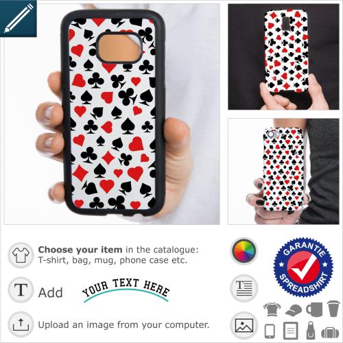 Poker symbols case. Poker, pattern for smartphone decoration made up of card game symbols