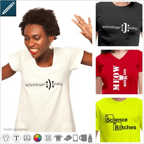 Quantum t-shirt and Schrödinger jokes to personalize online.