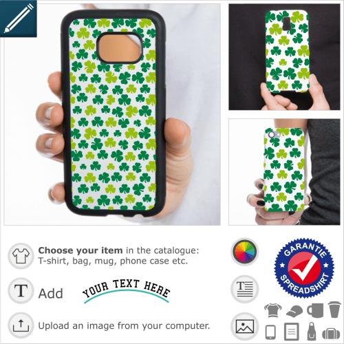 Shamrocks pattern case. Irish three-leaf clovers, two-colour design designed for printing on iPhone and smartphones. Irregular shamrocks decorative pa