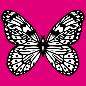Butterfly drawn in black and white in vector format. The butterfly is drawn in white solids and fine lines, change the colors.