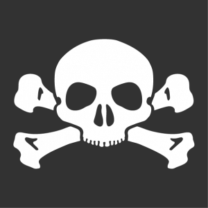 Skull and crossbones T-shirt a color with fine and stylized lines.