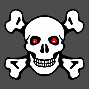Red-eyed skull and crossbones T-shirt, a customizable design with contours and opaque background.