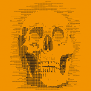 T-shirt skull ascii, design for nerd and programmer. The skull is composed of 0 and 1.