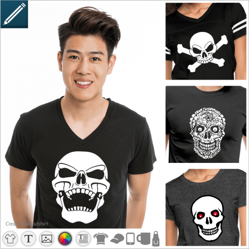 Custom skull and crossbones t-shirt. Skulls, skulls and crossed bones, stylized heads, choose your design to customize and print online