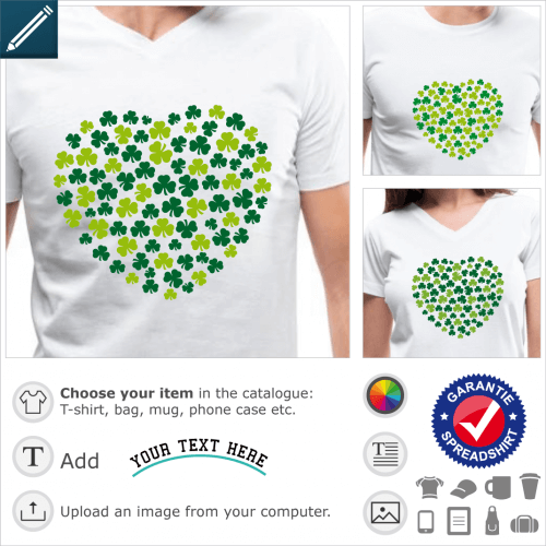 St Patricks Day heart t-shirt. Round heart made of Irish clovers. Traditional three-leaf shamrocks randomly scattered and forming a big heart for St P