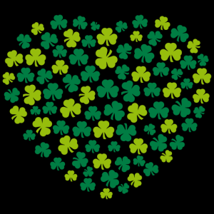 Heart design for Saint Patrick's day made of Irish three-leaf clovers.