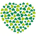 Rounded heart made of Irish clovers, Shamrock and Saint Patrick design. Print your t-shirt online.