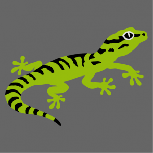 Funny little gecko with stripes, 3-color design to customize online.