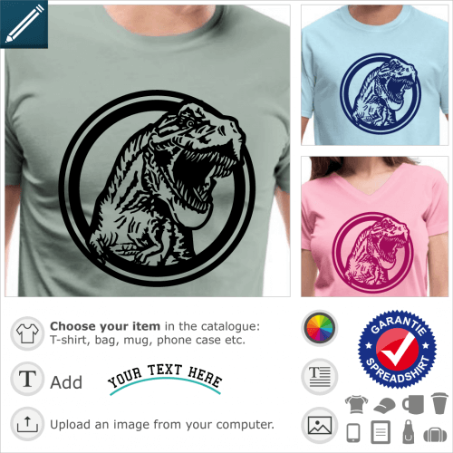 T-rex circle t-shirt. T-rex in a circle, stylized tyrannosaurus to print online.