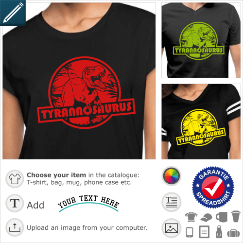 Custom T-shirt tyrannosaurus rex. Create an original dinosaur t-shirt with this round logo inspired by Jurassic park, representing a t-rex.