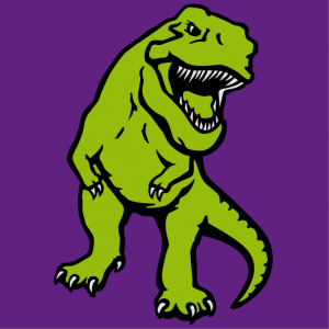 Three-colour dinosaur to be printed on t-shirt. Opaque T-rex.