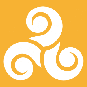 Celtic design with three spiral branches ending in large wheelbases.