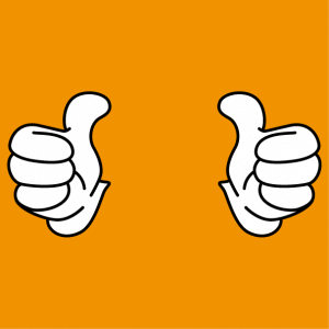 Thumbs up, thumbs apart and raised, a special 2-colour design for t-shirt printing.