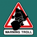 Road sign transformed into an Internet traffic sign, with a troll pictogram coming out of the image. Create your t-shirt.