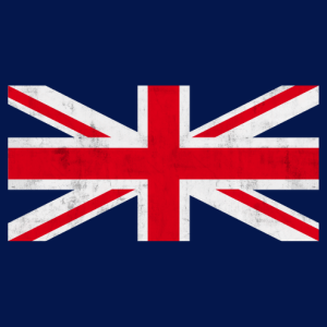 English flag with worn vintage texture, red and white central cross.