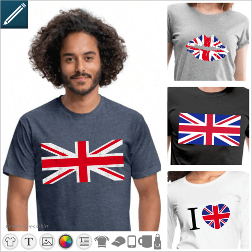 Uk T-shirt, English flag and Union Jack designs to print online.