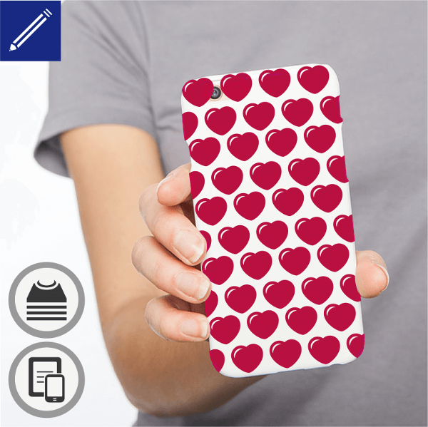 Customized phone case with a mosaic of hearts.