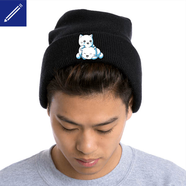 Custom beanie with kawaii kittens. Funny cap.